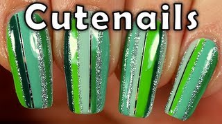 Nails tutorial  multicolor in shades of green by cute nails