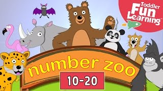 Learn to Count 10 to 20 with Number Zoo | Toddler Fun Learning