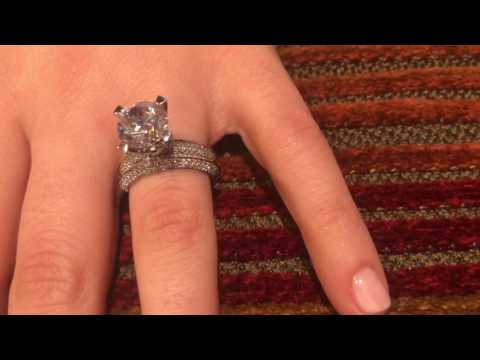 ff6d11104 3 Carat High quality round CZ tall setting knife shank, pave set engagement  ring   ma8600-8601 - YouTube