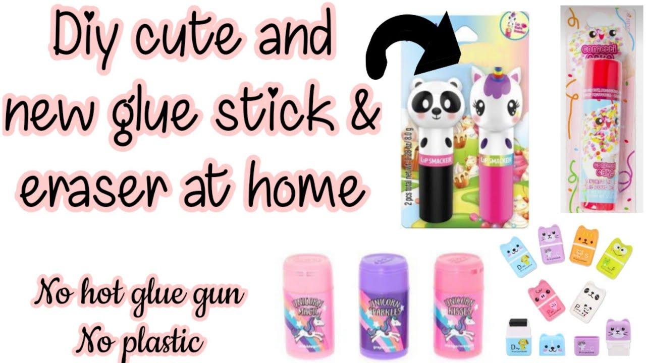 Diy cute and new gluestick & eraser/How to make cute erasers and glue sticks/Homemade cute gluestick