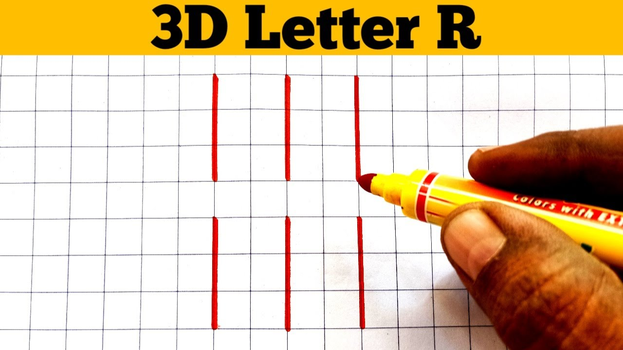 How To Draw 3D letter R || 3D Letter R || 3D Drawing
