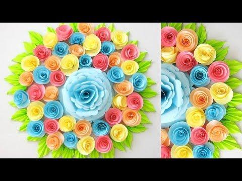 DIY. Simple Home Decor. Wall, Door Decoration. Цветы из бумаги ...