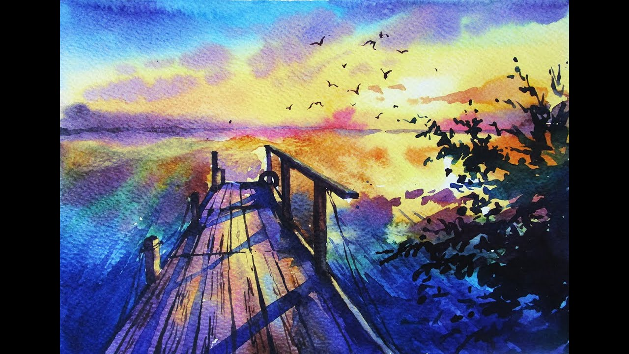 watercolor painting sunset youtube