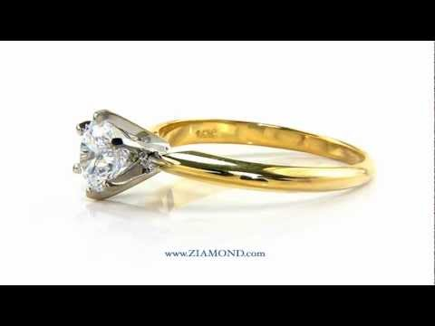 68041e242 Cubic Zirconia CZ Round Classic Tiffany Solitaire Engagement Ring 14K By  Ziamond - R1001R15 by ziamond