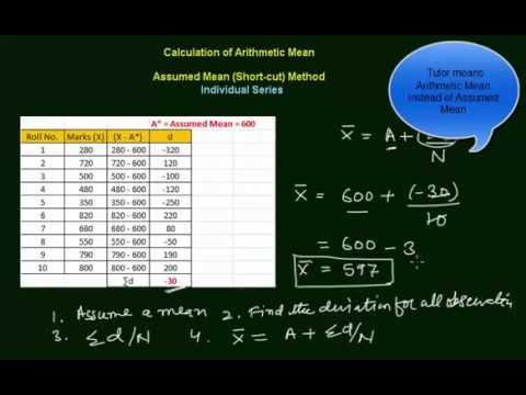 Arithmetic Mean - Assumed Mean (Short-cut) Method - Individual Series (in Hindi)