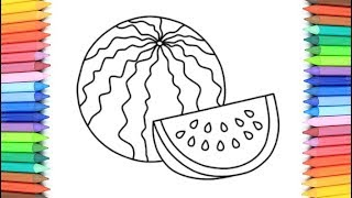 How to Draw Watermelon Coloring Pages Fruit 💜 Kids Learn Drawing 💖 Art Colors for Children