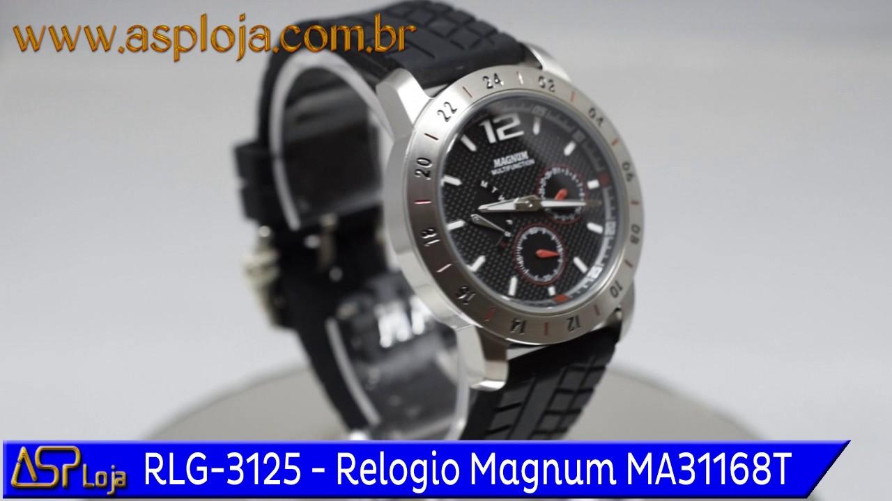 7b2b69dda8b RLG 3125 Relogio Magnum Masculino Analógico MA31168T Preto - YouTube