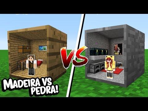 Minecraft: CASA DENTRO DO BLOCO DE MADEIRA VS CASA DENTRO DO BLOCO DE PEDRA!