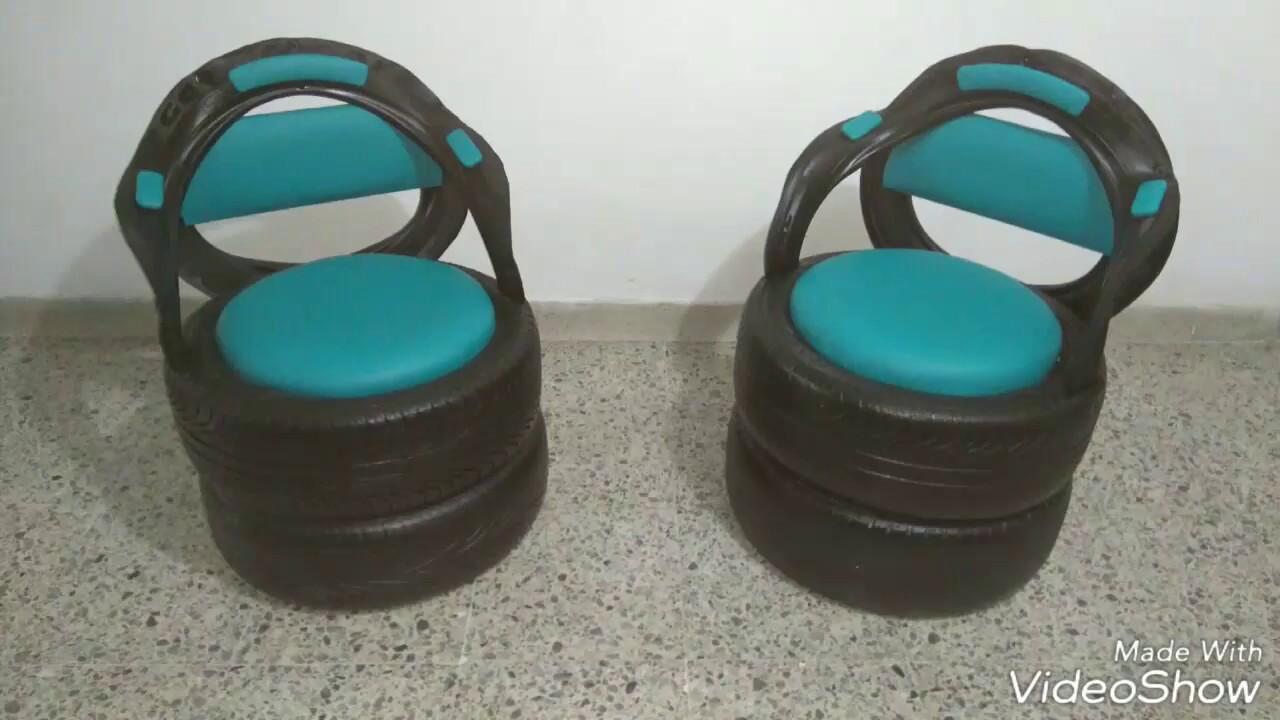 Inmobiliario sillas puffs mesas en llantas recicladas for Llantas para silla de escritorio