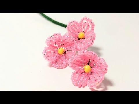 Делаем цветы из бисера видео уроки