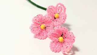 Цветы из бисера для новичков  Петельная техника Как сделать цветы из бисера Урок 13  Бисероплетение