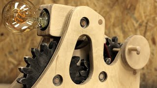 How to make a desk lamp with a hidden switch and moving wooden gears
