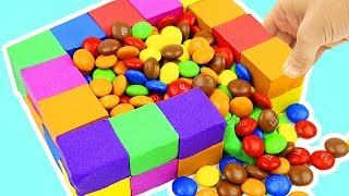 A LOT OF M&M in POOL of Kinetic Sand Rainbow and Learn Colors for Kids , a lot of candy