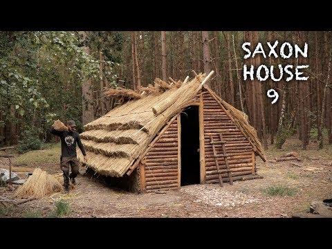 Building a Thatch Roof House: Bushcraft Saxon House (Part 9)