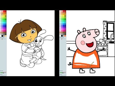 Dora The Explorer VS Peppa Pig Mother Coloring Book Pages Fun Video For Kids And Children