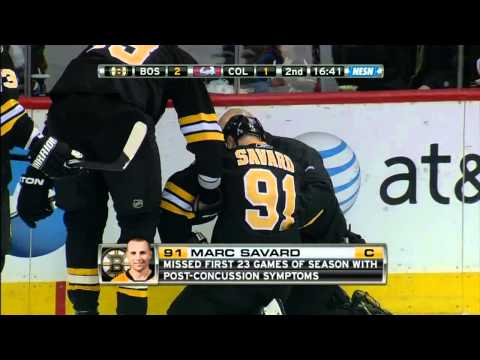 Matt Hunwik crushes Marc Savard [HD] {Injury}