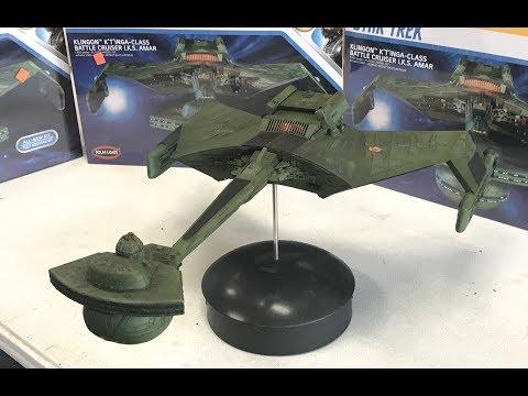 Building the 1/350 Star Trek Klingon k't'inga battle cruiser Polar Lights new kit with lights