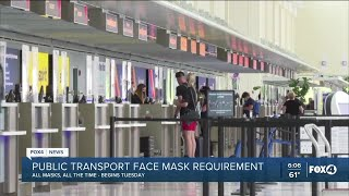 Public transportation face mask mandate