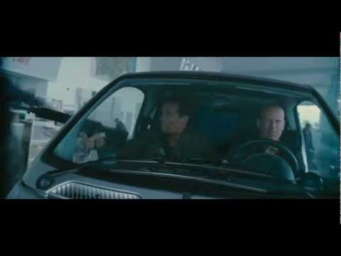 The Expendables 2 (2012) Movie Clip #3 'Smart Car Shootout' - (1080p HD) Featuring Arnie and Willis
