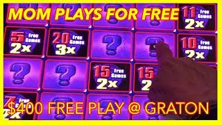 MY MOM HAS $400 CASINO FREE PLAY ON SLOTS @ Graton Casino | NorCal Slot Guy