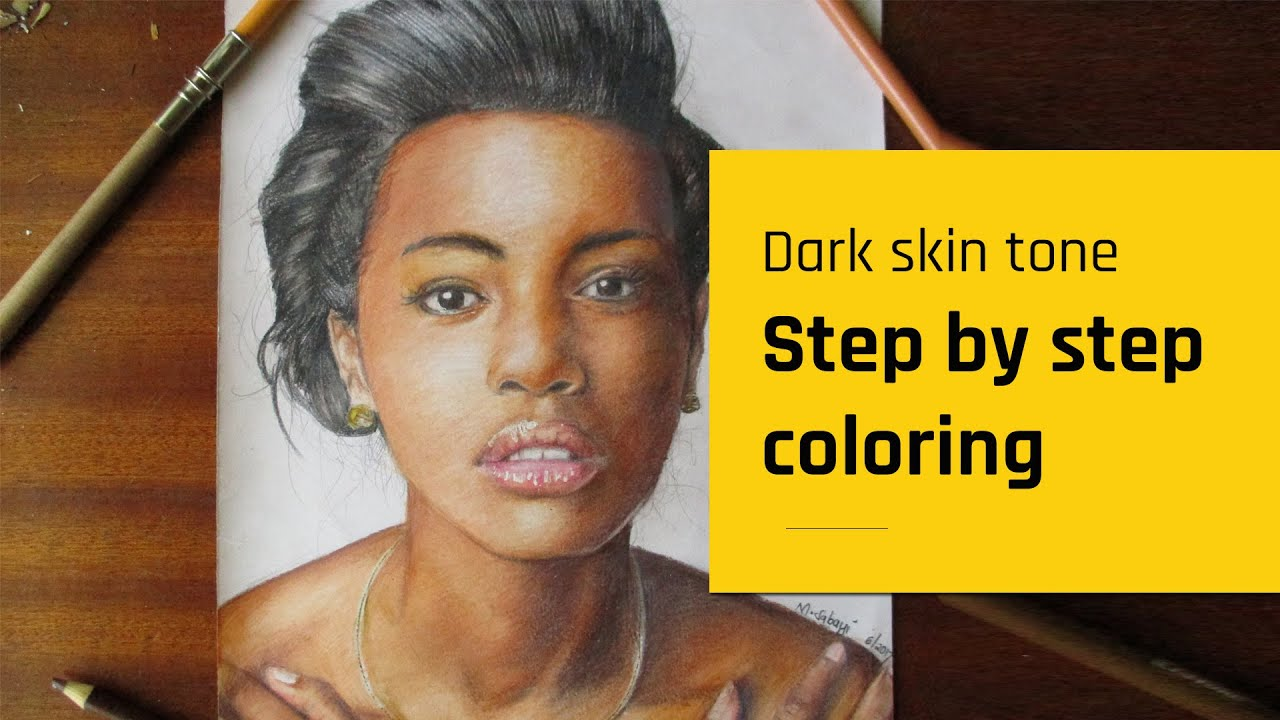 How to color, blend dark skin tones with colored pencils | blending ...