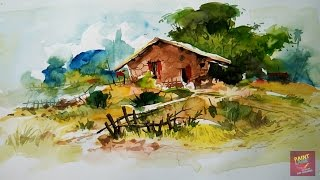 Basic Water Color Landscape Painting Demonstration With Step By Step