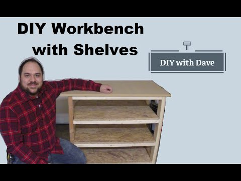 Easy DIY Workbench or Garage Storage Bench with Shelves