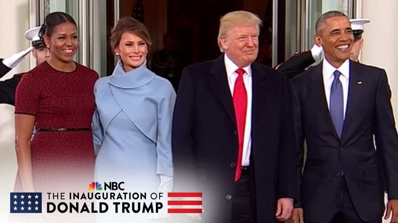 The Obamas Welcome The Trumps At The White House Nbc News Youtube