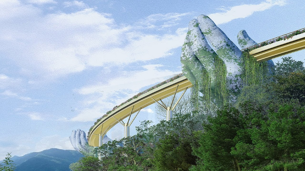 Картинки по запросу Giant Stone Hands Support Vietnam's New Golden Bridge