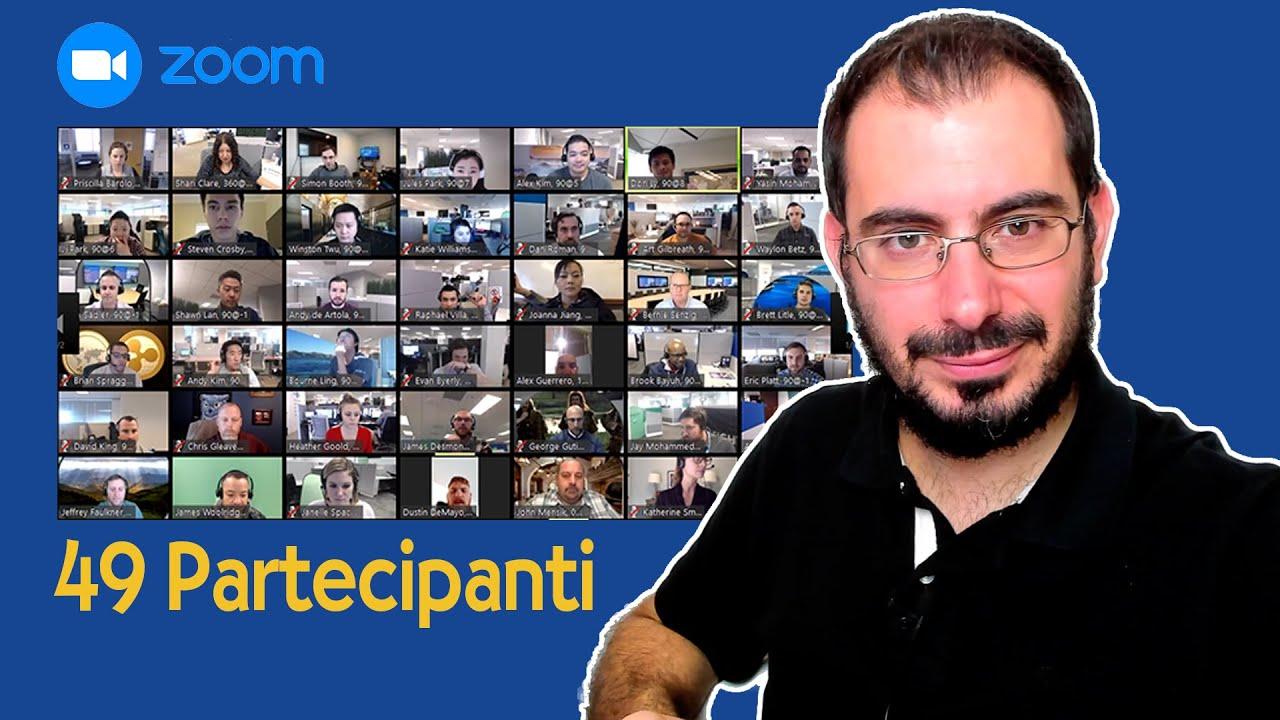 Zoom con 49 partecipanti per ogni schermata