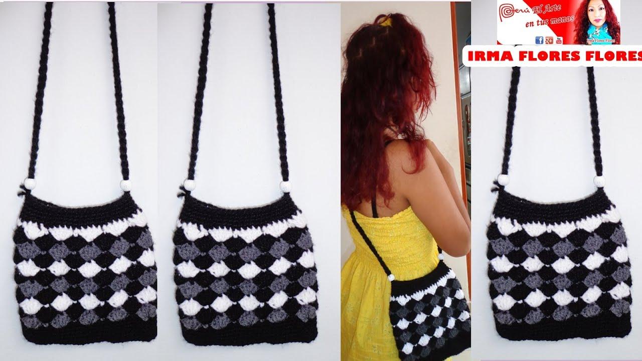 Como hacer un bolso con el punto abanico tejido a crochet - Como hacer bolsos tejidos ...