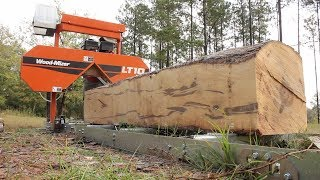 Milling a HUGE Sweet Gum log! Beautiful!