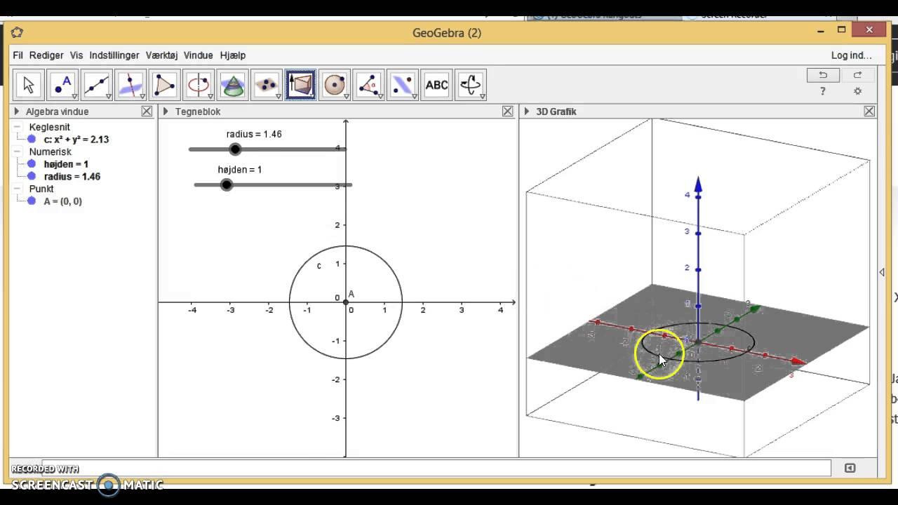 3D cylinder i geogebra