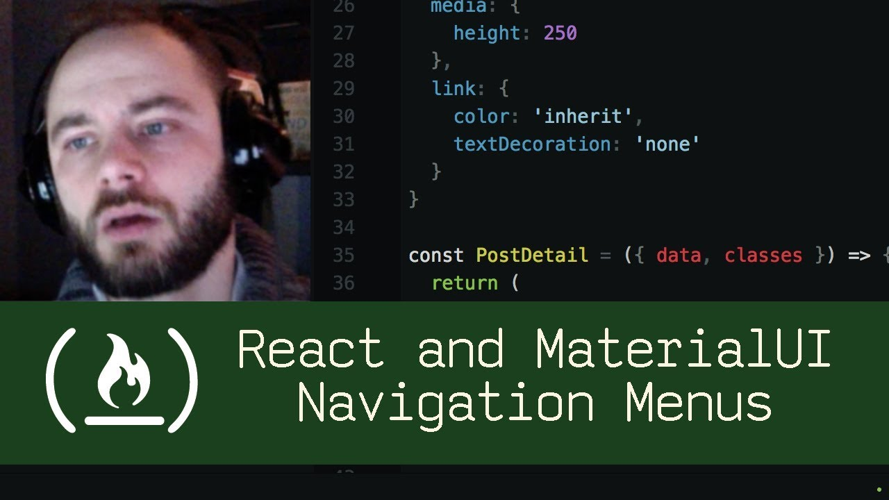 React and MaterialUI Navigation Menus (P5D23) - Live Coding with Jesse