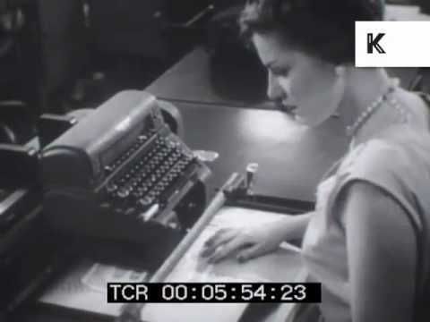 1950s secretaries at work behind the scenes in New York bank, typing and filing