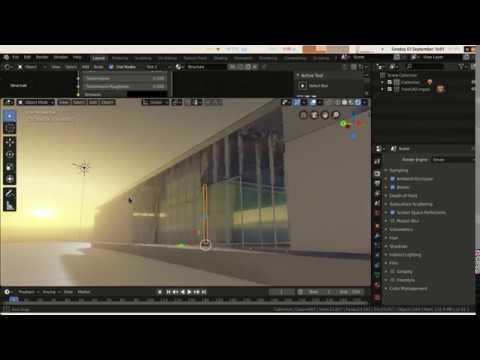 BIM With FreeCAD - Barcelona Pavillion 17 - Rendering