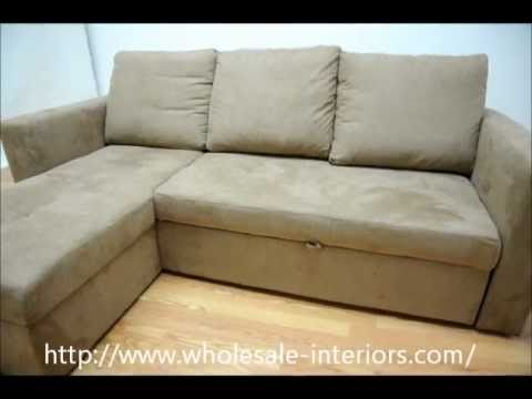 Wholesale Interiors Linden Tan Microfiber Convertible Sectional / Sofa Bed    YouTube