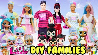 LOL Families Compilation Sugar, Spice, and Bon Bon Family DIY With Barbie and Ken Makeovers