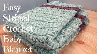 easy striped crochet baby blanket