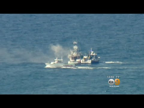 Fishing Boat Catches Fire Off Port Of LA