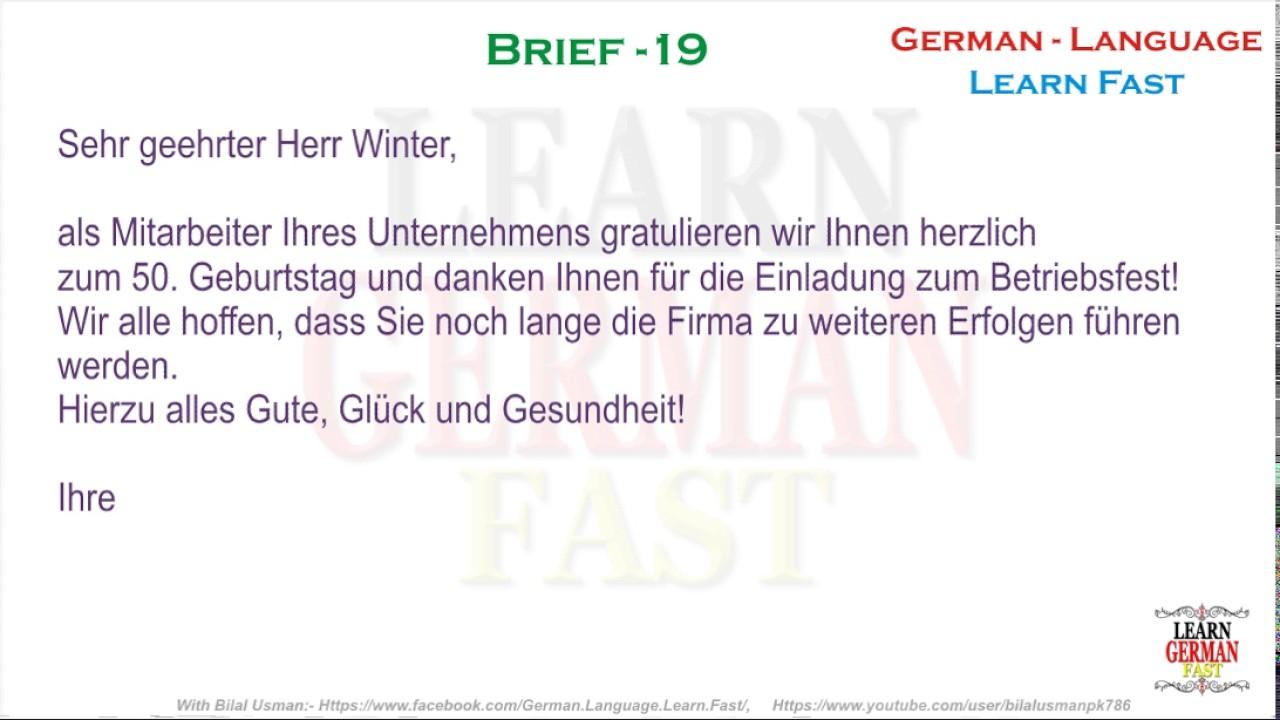 German Brief 19 A1 A2 B1 B2 C1 C2 Youtube