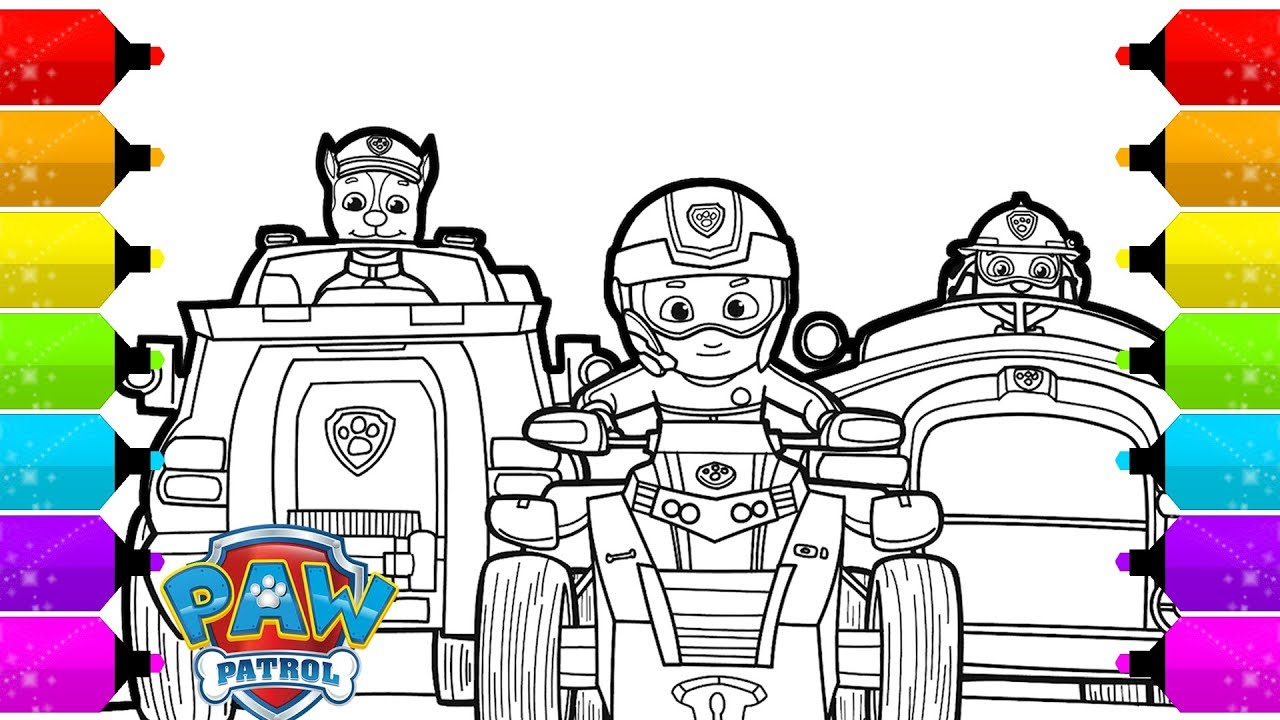 paw patrol chase marshall ryder and vehicles coloring pages youtube. Black Bedroom Furniture Sets. Home Design Ideas
