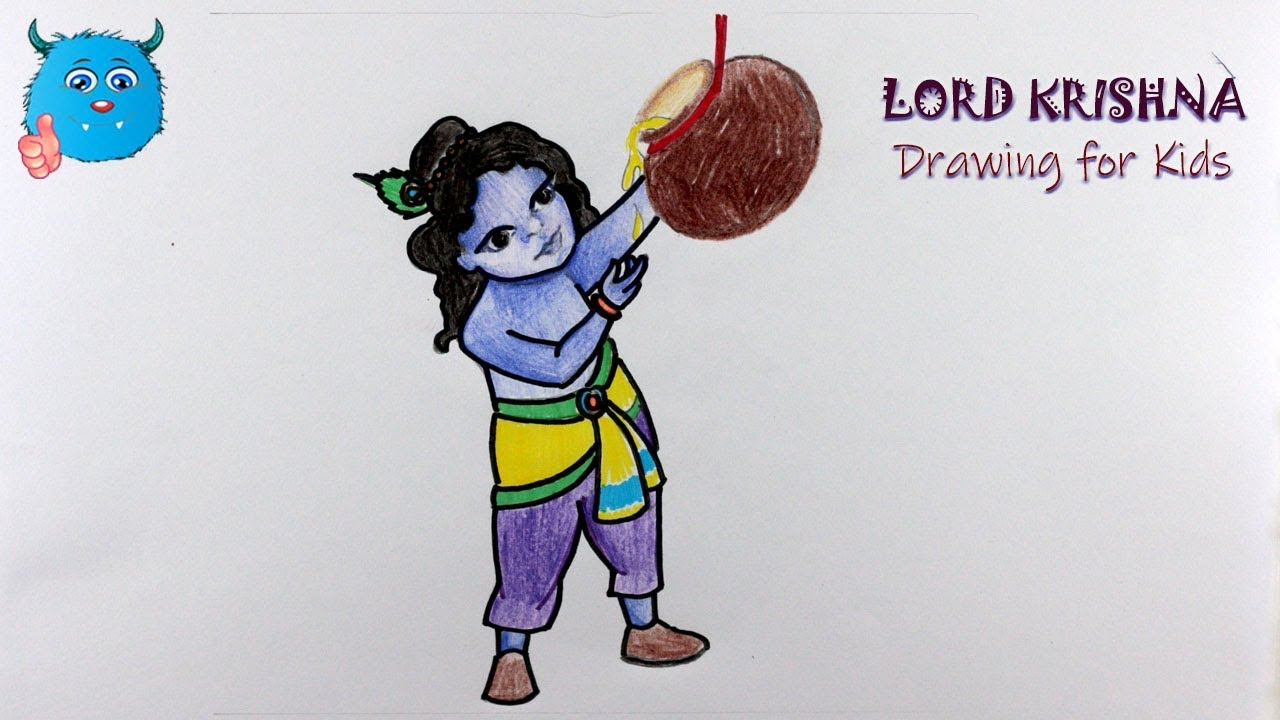 How to draw little krishna drawing in color pencil