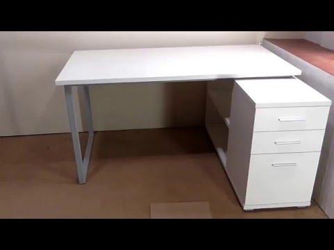 Белый угловой компьютерный стол