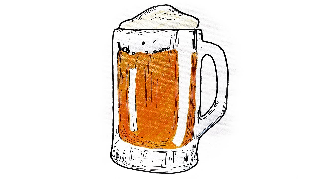 How To Draw A Beer Mug Step By Step Beer Mug Drawing Realistic Beer Glass Drawing Time Lapse