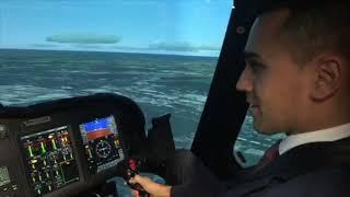 Il vicepremier Di Maio sul simulatore di Leonardo Elicotteri