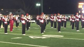 The Bellevue Redmen Marching Band takes to the field.