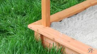 Sun Shade Wooden Sandbox With Canopy - Product Review Video
