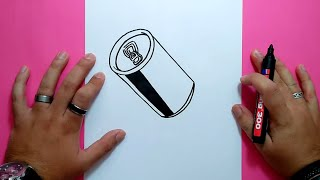 Como dibujar una lata de refresco paso a paso 2   How to draw a can of soda 2