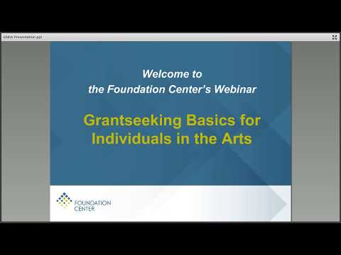 Grantseeking Basics for Individuals in the Arts